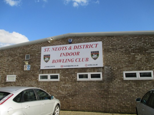 Indoor Bowling Club sign on the outside of the building in Eaton Ford - 1st November 2014