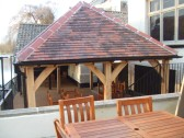 The outside seating area by the river in the newly refurbished Bridge House, St Neots - 27th March 2013