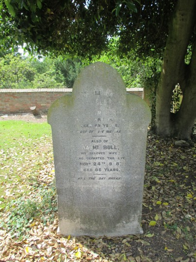 William and Naomi Bull's gravestone in Eynesbury Old Cemetery. The couple ran the Nags Head in Eynesbury.