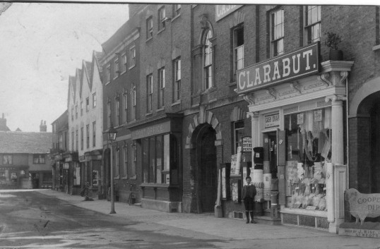 Clarabuts and other shops on the south side of St Neots Market Square - possibly around 1911