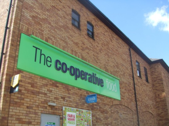 Co-operative sign on the Co-op stores in Tebbutts Road, St Neots - 10th June 2014
