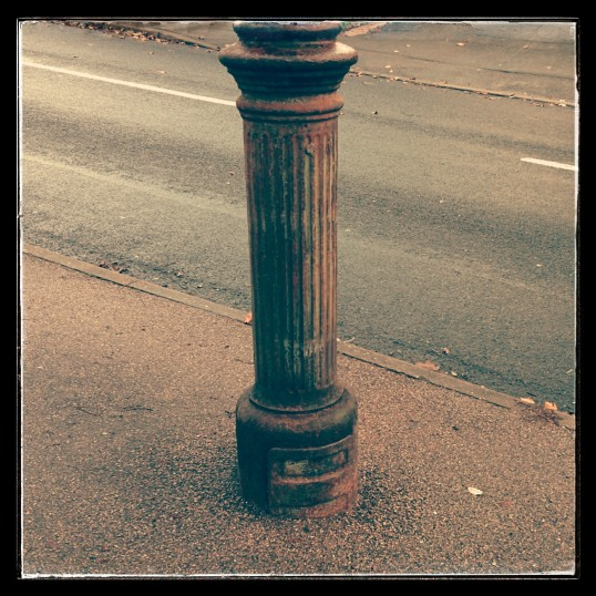 Street Furniture - the base of a former lamp post in Mill Hill Road, Eaton Ford - November 2014