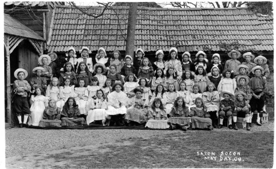 May Day Celebrations in Eaton Socon - a group of school children at the school - May 1909