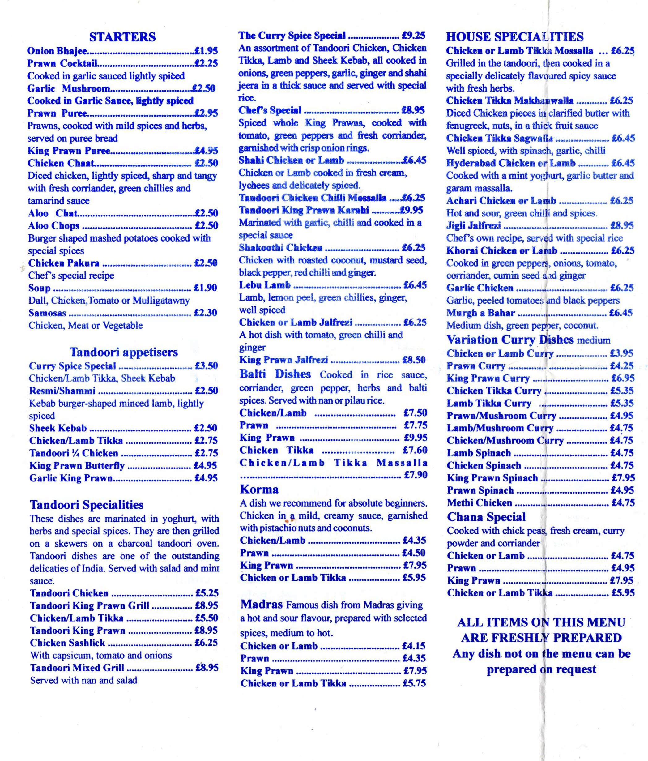 The curry spice indian restaurant and takeaway menu 1 for Akbar cuisine of india menu