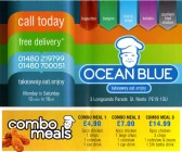 Ocean Blue Takeaway Menu, 3 Longsands Road - date unknown