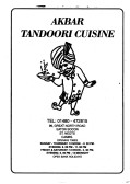 Akbar Tandoori Cuisine Menu, 99 Great North Road, Eaton Socon - date unknown