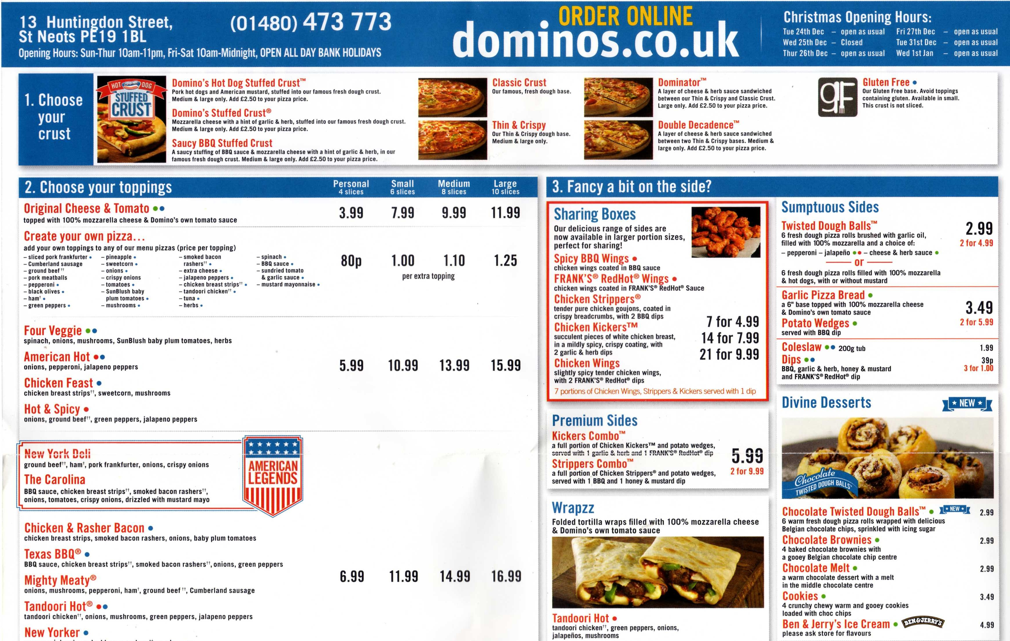 Dominoes Takeaway Pizza Menu, 13 Huntingdon Street, St Neots ...