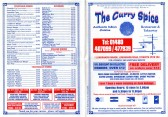 The Curry Spice Restaurant and Takeaway Menu, 1 Longsands Parade, date unknown