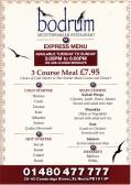 Bodrum Mediterranean Restaurant Takeaway Menu, 38-40 Cambridge Street, St Neots - date unknown