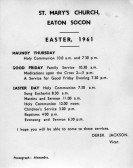 Easter Services on a card showing the inside of Eaton Socon Church - Easter 1961