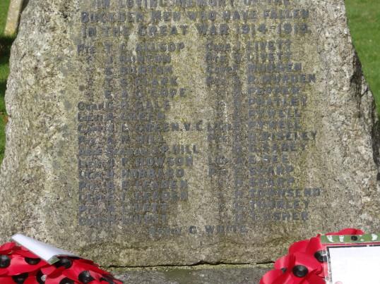 Buckden War Memorial before cleaning (2)