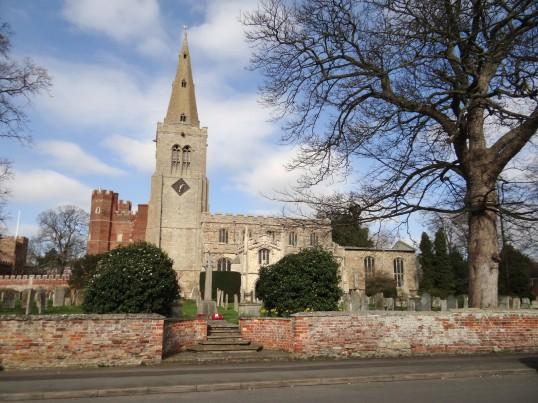 Buckden, St. Mary's parish church, war memorial and Buckden Towers