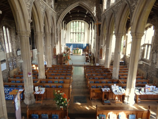Buckden, St. Mary's church interior from the gallery, September 2012