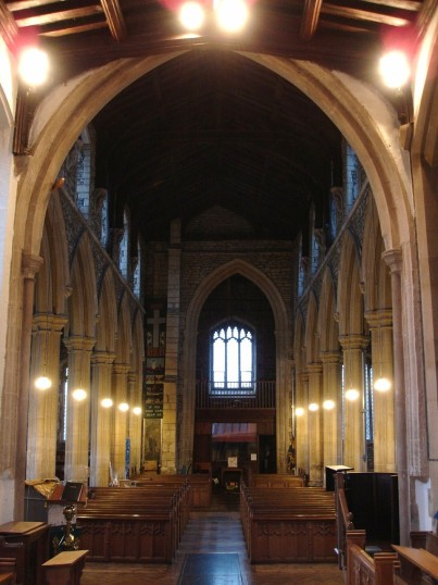 Buckden, St. Mary's church interior from the east (2), January 2009