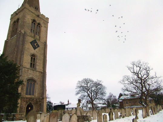 Buckden church, churchyard, pigeons, manor house and old vicarage, February 2012