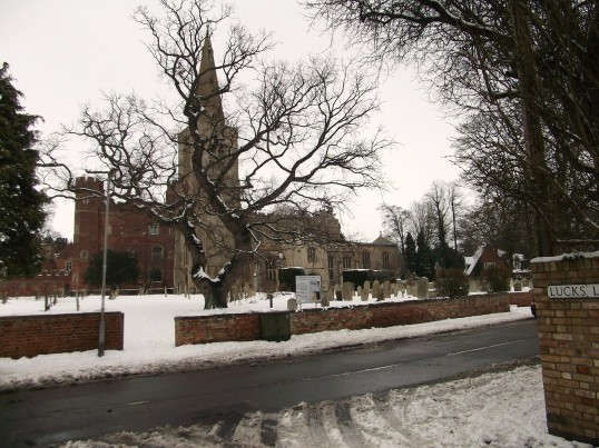 Buckden parish church from Lucks Lane in the snow, February 2012.