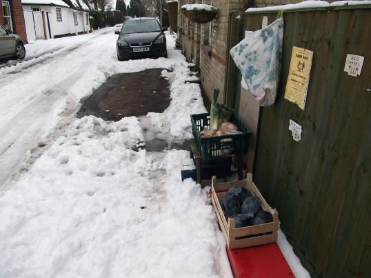 Buckden, Lucks Lane vegetables for sale February 2012.