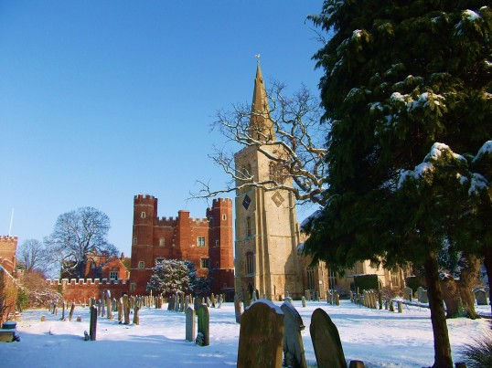 A view of St. Mary's parish church, Buckden, in the snow, February 2012 (2).