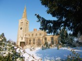 A view of St. Mary's parish church, Buckden, in the snow, February 2012 (3).