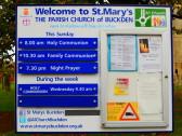 Buckden, St Mary's Church notice board, October 2014