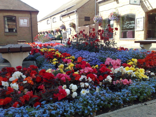 Priory Centre floral display, St Neots - July 2014