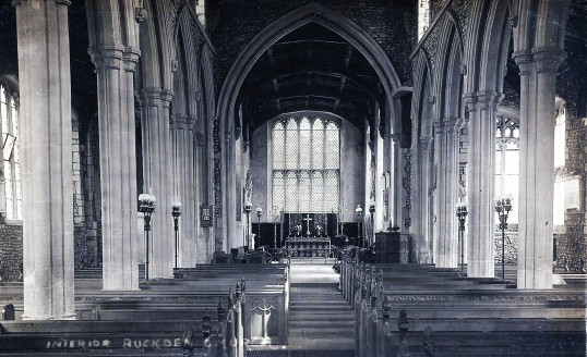 Buckden, St. Mary's church interior c1910