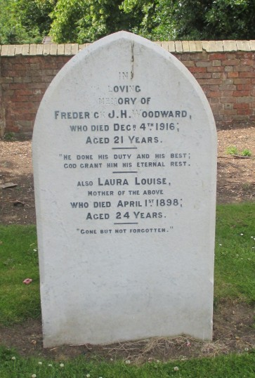 The gravestone of Frederick J Woodward in Eynesbury Old Cemetery died Dec 4th 1916