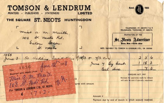 Tomson and Lendrum Receipt dated June 3rd 1958