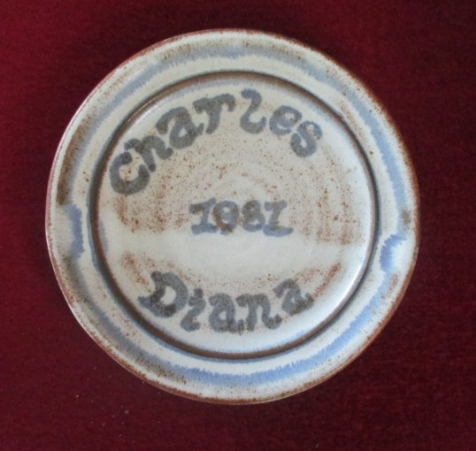 Charles and Diana Commemoration Plate made by St Neots Pottery in Eaton Ford in 1981