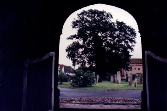 Buckden, St. Mary's Church, porch and old gates, October 1993