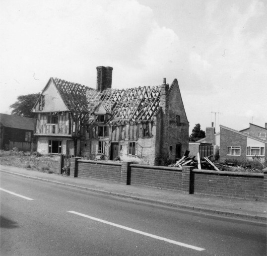 The old timber-framed house on the corner of Bunny Lane (now Nelson Road) in Eaton Socon in 1966