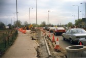 The reconstruction of the Riverside roundabout on the road into St Neots from Eaton Ford in 1996