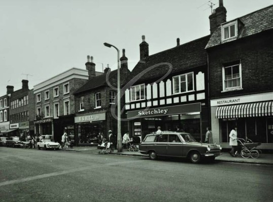 R S Hill Ltd and Sketchleys in St Neots High Street in the early 1960s