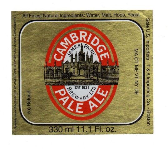 James Paine Brewery Cambridge Pale Ale Label - date unknown