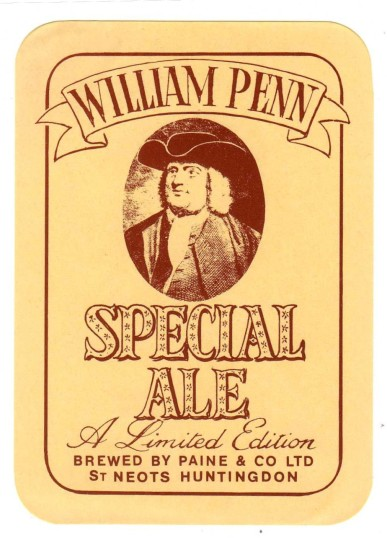 Paine & Co Ltd William Penn Special Ale label - date unknown