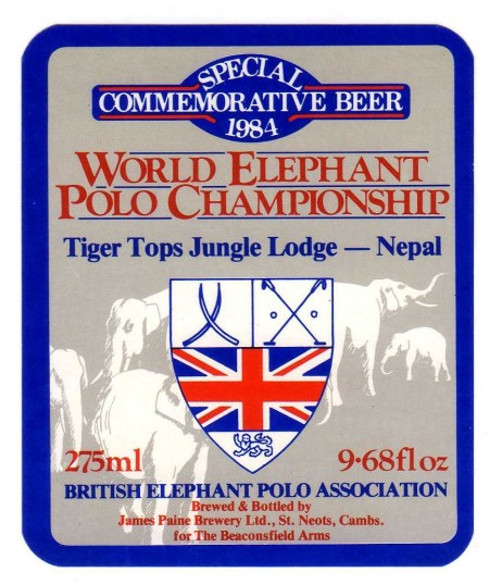 James Paine Special Commemorative Beer - World Elephant Polo Championship 1984