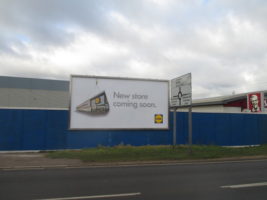 Lidl site in Eaton Socon - one of the new signs showing where the shop will be built - February 2016