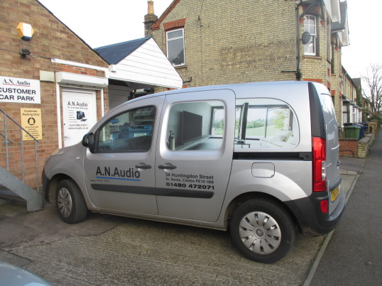 A N Audio van outside the back entrance of the shop in Huntingdon Street - Jan 21st 2016