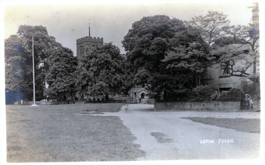 St Marys Church Eaton Socon and the Maypole on the Village Green - pre 1917