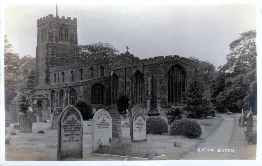 Eaton Socon Church and churchyard from the southeast - pre 1922