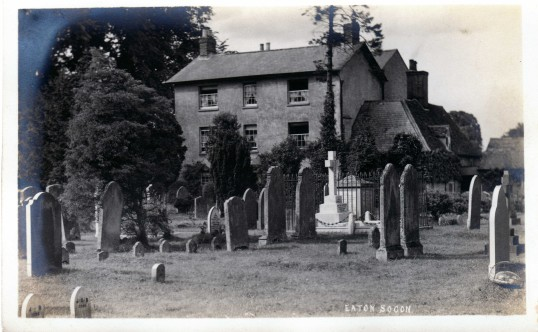 Eaton Socon Academy - seen across the churchyard at Eaton Socon - date pre 1900