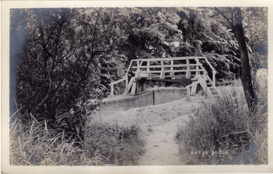 The old wooden bridge over Eaton Socon Lock - date unknown