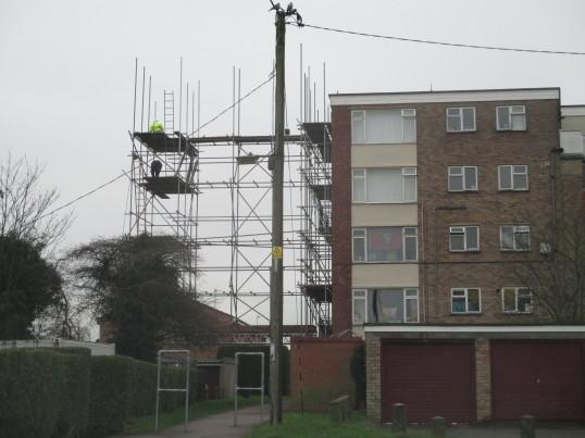 Scaffolding on a block of flats in Duck Lane - 11th Jan 2016