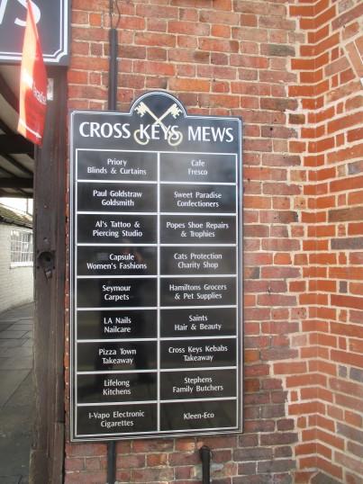Cross keys Mews shops board - 1st may 2016