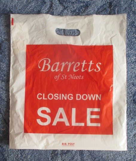 Barretts plastic bag for their closing down sale - June and July 2016