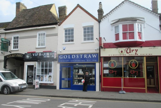 VIP Barbers, Goldstraw Jewellers and Ury Indian Restaurant - St Neots High Street April 8th 2016