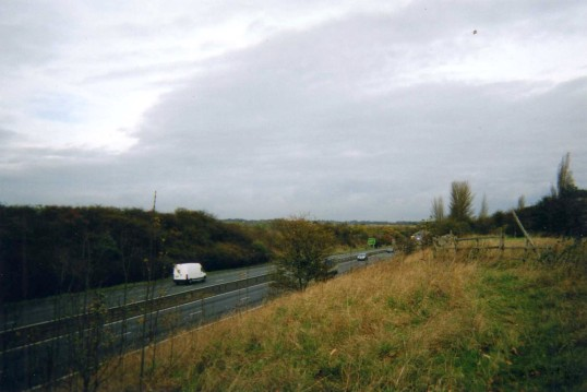 The A1 in the cutting - seen from the end of the Great North Rd at Crosshall - Dec 2007