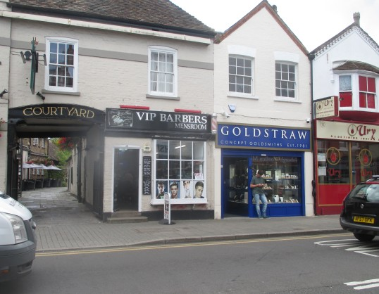 VIP Barbers, Goldstraw Jewellers and Ury Restaurant in St Neots High Street - 12th August 2016