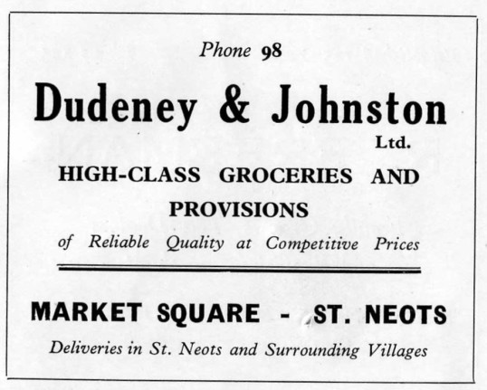 Dudeney & Johnson Grocers advert, Market Square, advert - 1930s