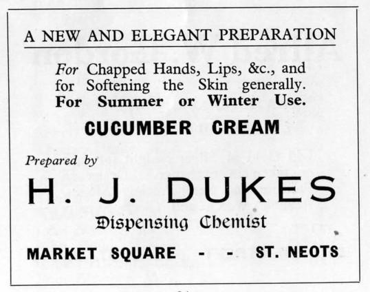 Dukes Chemist, Market Square, advert - 1930s